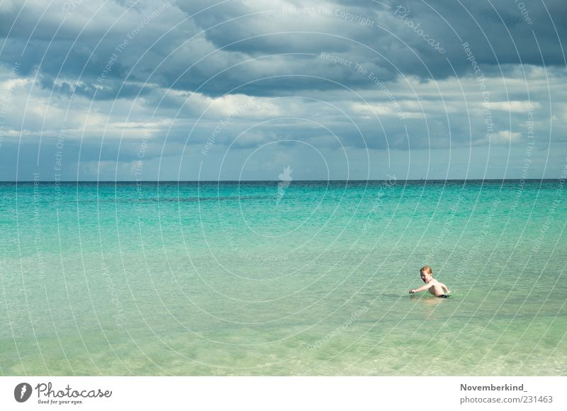 Human being Child Sky Nature Water Vacation & Travel Ocean Summer Beach Clouds Far-off places Playing Freedom Boy (child) Infancy Waves