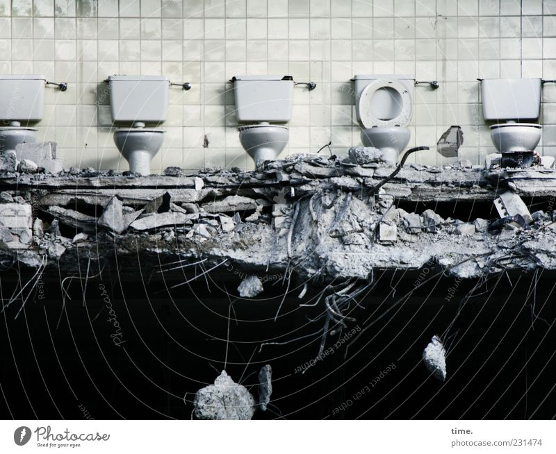 Public toilets Deserted Wall (barrier) Wall (building) Sit Dark Broken Cleanliness Bizarre Chaos Disaster Destruction Toilet Building rubble Dismantling
