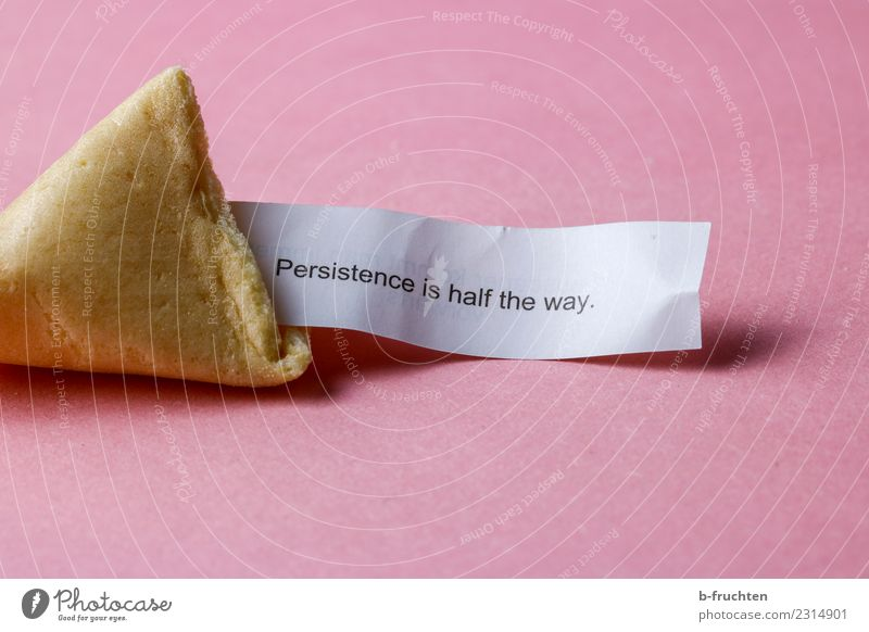 Persistence is half the way Candy Characters Think Discover Reading Red Fortune cookie Road marking Piece of paper Figure of speech Endurance Colour photo