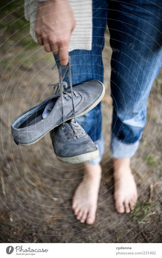 barefoot Lifestyle Harmonious Well-being Relaxation Calm Trip Freedom Human being Environment Nature Earth Jeans Footwear Idea Uniqueness
