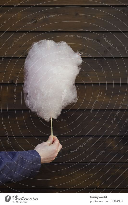 Hand holding cotton candy in front of wooden wall Food Candy Cotton candy Sugar Nutrition Diet Fragrance Delicious Sweet Soft Unhealthy Fairs & Carnivals Stop