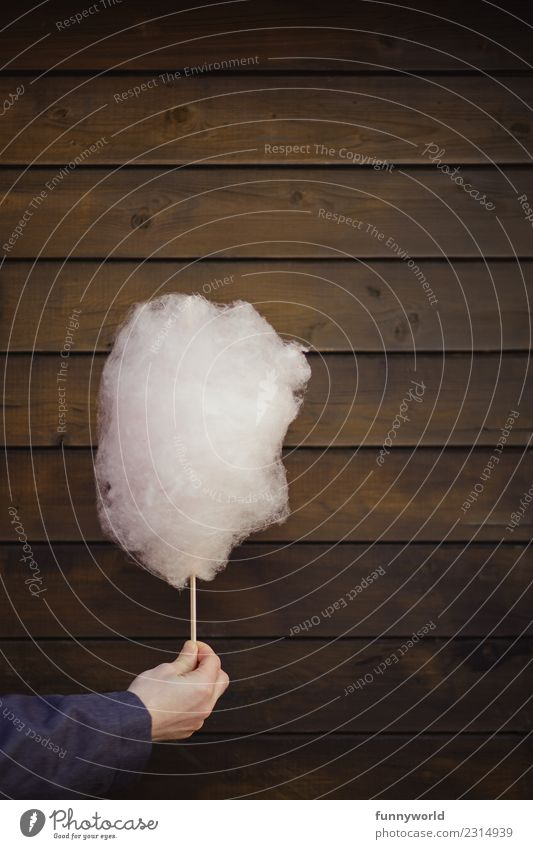 Hand holds pink cotton candy Large Delicious Funny Sweet Joy Cotton candy Pink Stop Indicate Donate Fairs & Carnivals Wood Wooden wall Wooden board Brown