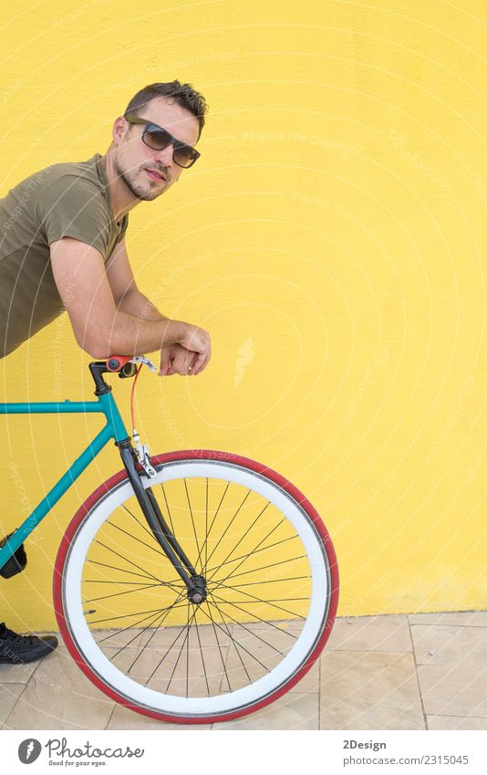 Man posing with his fixed gear bicycle Lifestyle Style Joy Happy Leisure and hobbies Vacation & Travel Cycling Human being Adults Environment Town Transport