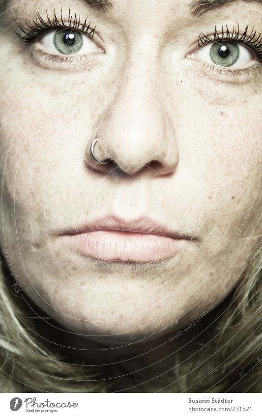 . Feminine Head Face Mouth Blonde Near Nasal piercing Piercing Freckles Colour photo Studio shot Close-up Artificial light Light (Natural Phenomenon)