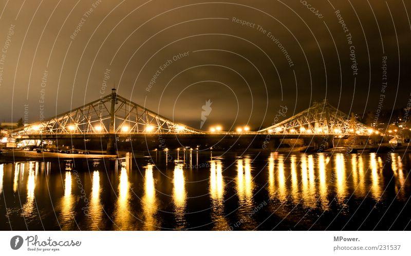 Blue Water Yellow Lamp Wet Bridge Illuminate River Manmade structures Dresden Lantern Steel Monument Landmark Tourist Attraction