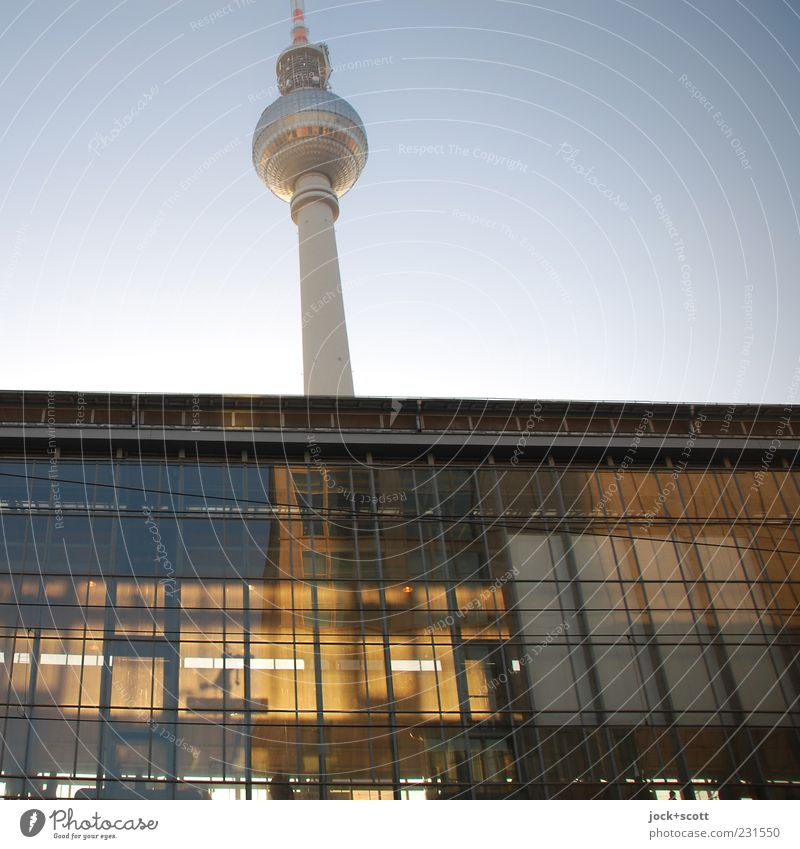 felt five to twelve at Alex Cloudless sky Capital city Downtown Train station Tower Tourist Attraction Landmark Berlin TV Tower Station hall Illuminate Above