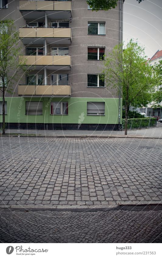 Berlin XI Neukölln Town Capital city Deserted Balcony Traffic infrastructure Street Stone Gray Green Roller shutter Hedge Paving stone Curbside New building