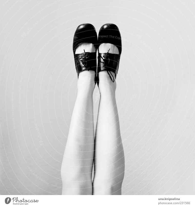 Human being Feminine Legs Fashion Feet Footwear Glittering Retro Hang Leather High heels Black & white photo Patent shoes