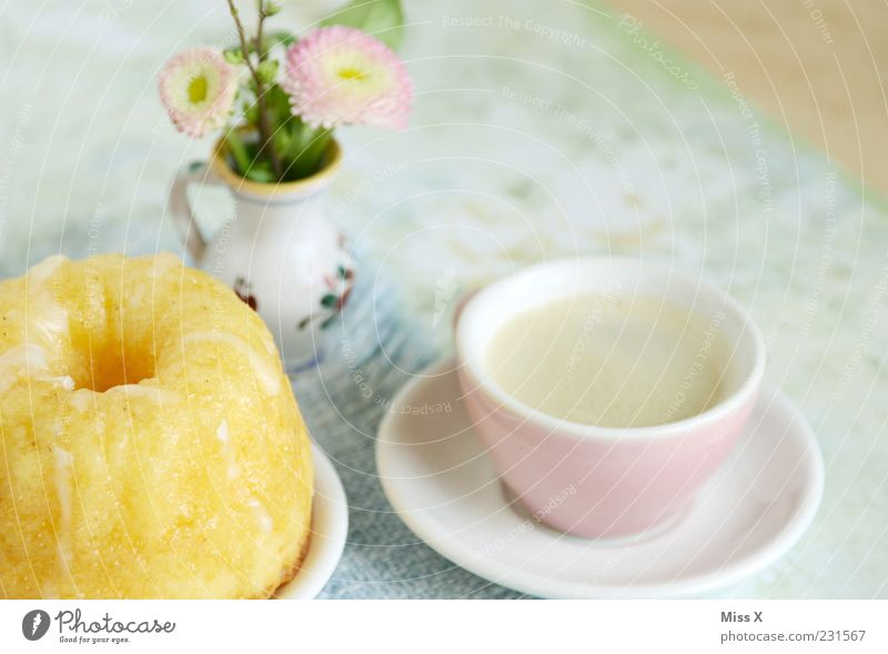Flower Small Blossom Pink Nutrition Food Beverage Sweet Coffee Kitsch Bouquet Cup Delicious Cake Plate Baked goods
