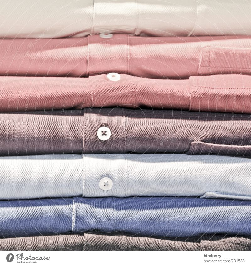 ha & em Shirt Cloth New Beautiful Blue Brown Multicoloured Gray Trade Goods Play of colours Cotton Buttons Dry goods Colour photo Interior shot Detail Stack