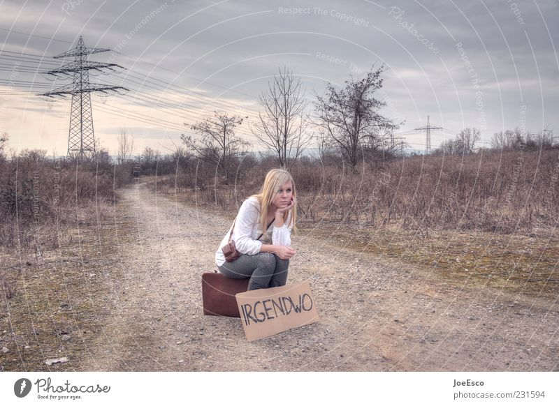 somewhere 02 Vacation & Travel Adventure Freedom Young woman Youth (Young adults) Woman Adults Life 1 Human being Nature Field Suitcase Blonde Sit Wait