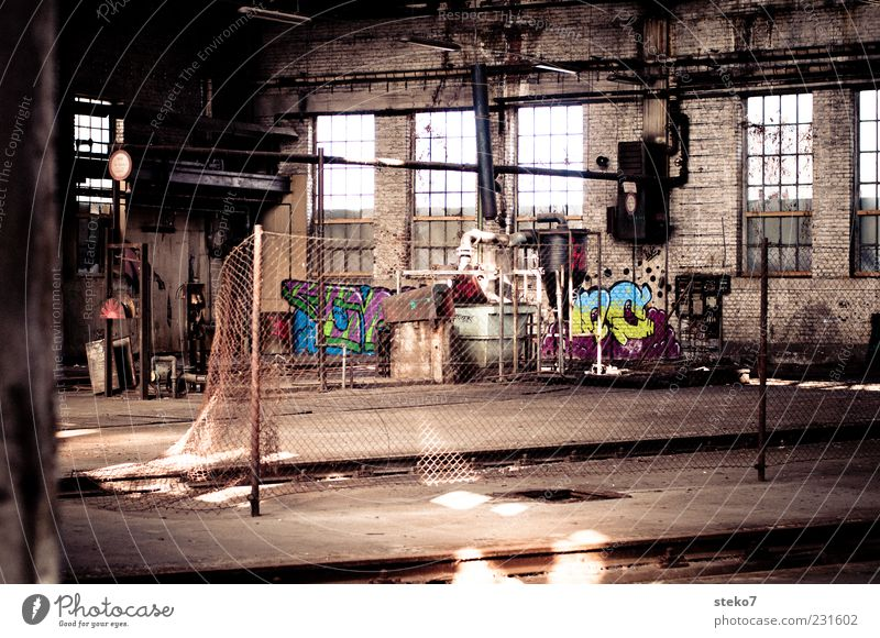 Graffiti Factory Past Decline Trashy Hall Industrial plant Multicoloured Deserted