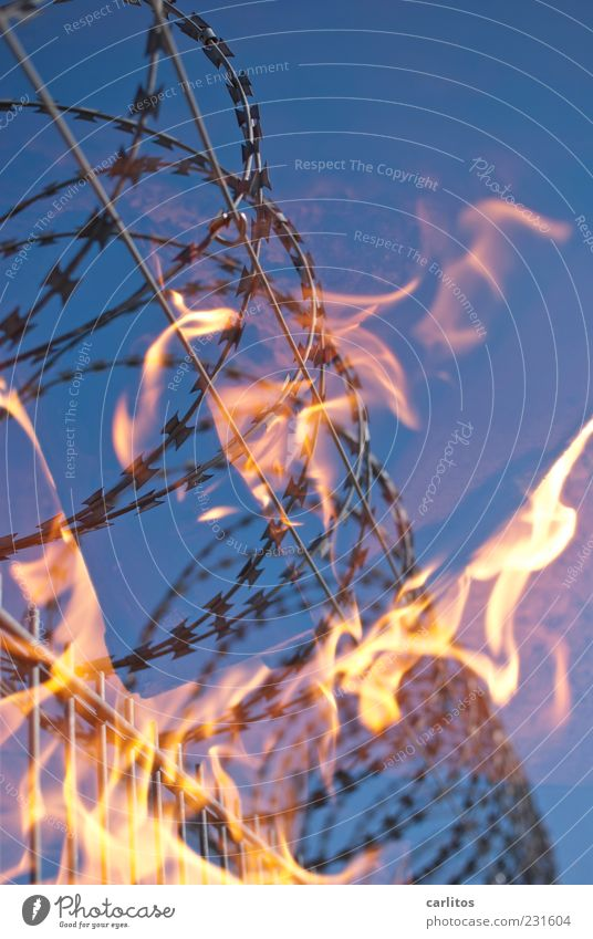 Sky Blue Red Metal Warmth Energy Fire Safety Dangerous Threat Elements Hot Border Fence Burn Silver