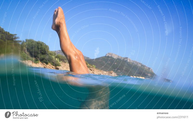 Human being Blue Water Vacation & Travel Ocean Summer Feminine Landscape Movement Legs Leisure and hobbies Tourism Summer vacation Italy Reflection Settings