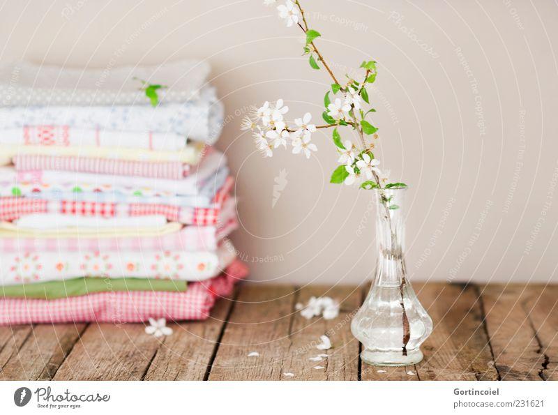 still lifes Lifestyle Style Spring Blossom Decoration Beautiful Twig Wooden table Cloth Cloth pattern Vase Delicate Pastel tone cherry plum Prunus cerasifera