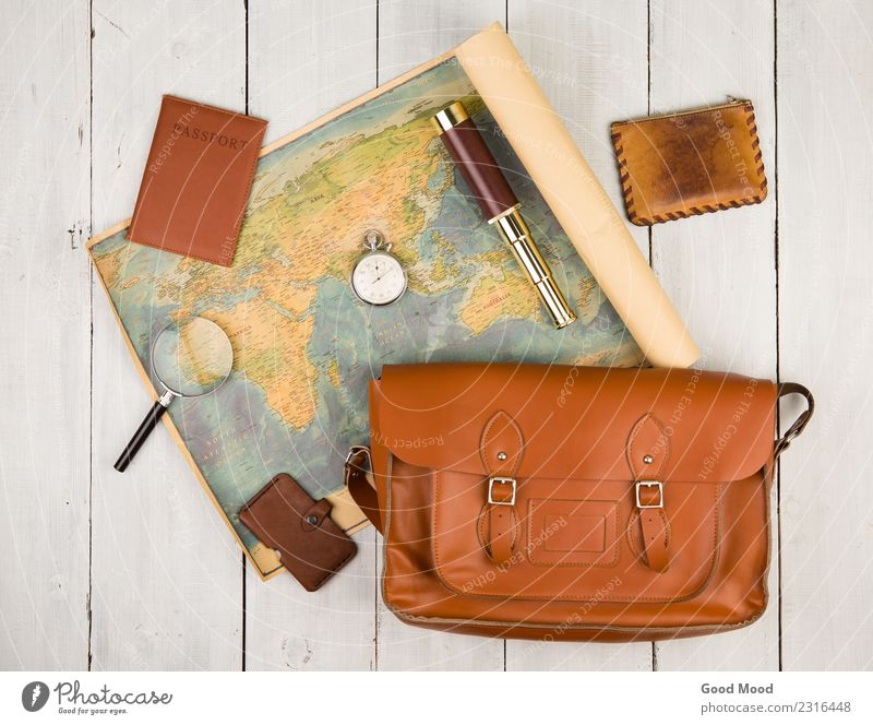 map, passport, bag, magnifying glass, purse, spyglass, stopwatch Vacation & Travel Old Summer White Street Lifestyle Wood Tourism Earth Trip Leisure and hobbies