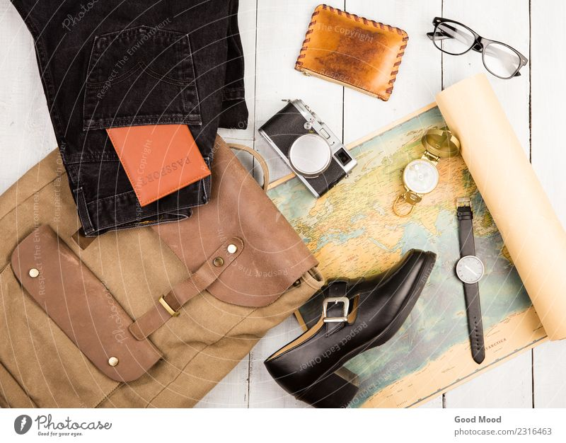 camera, glasses, backpack, shoe, map, passport, compass Vacation & Travel Old White Street Lifestyle Wood Tourism Earth Trip Leisure and hobbies Retro