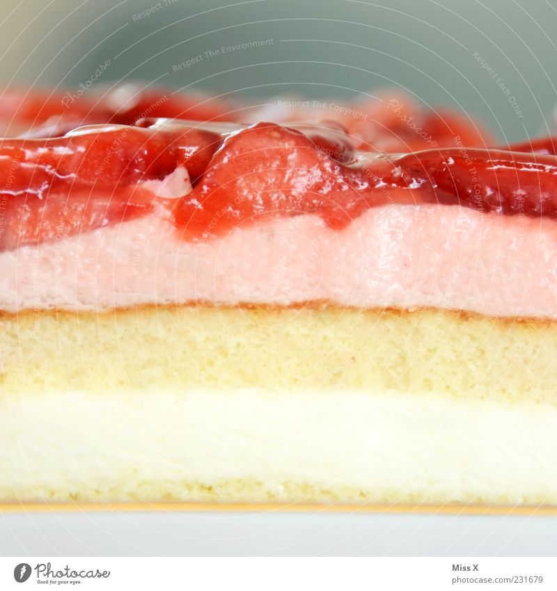 cake day Food Fruit Cake Dessert Nutrition Fresh Delicious Juicy Sweet Pink Strawberry pie Gateau Piece of gateau Part Cross-section Cream Food photograph