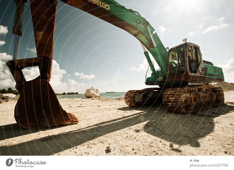 Dredging on the beach Beach Ocean Island Machinery Industry Earth Water Build Change Excavator Excavator shovel Sky Clouds Maldives Indian Ocean Dazzle Sand