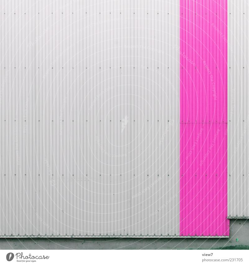 Corrugated iron super Wall (barrier) Wall (building) Facade Metal Line Stripe Authentic Simple Fresh Uniqueness Modern Gloomy Pink Esthetic Colour Arrangement