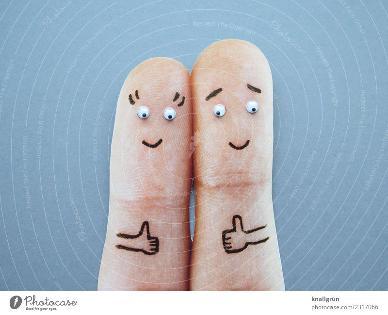 Thumbs up! Woman Adults Man Couple 2 Human being Communicate Smiling Together Gray Emotions Joy Happiness Contentment Enthusiasm Optimism Success Sympathy