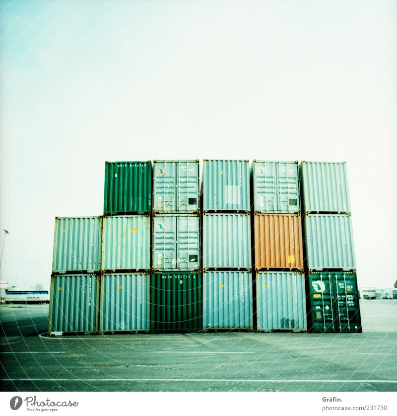 container stacks Deserted Metal Steel Sharp-edged Gigantic Blue Gray Green Logistics Container Stack Parking area Corrugated sheet iron Storage area