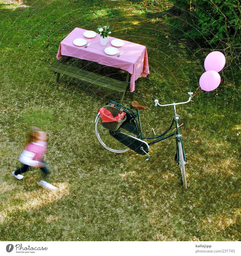 Human being Child Plant Girl Summer Meadow Life Playing Garden Style Infancy Bicycle Leisure and hobbies Pink Running Table