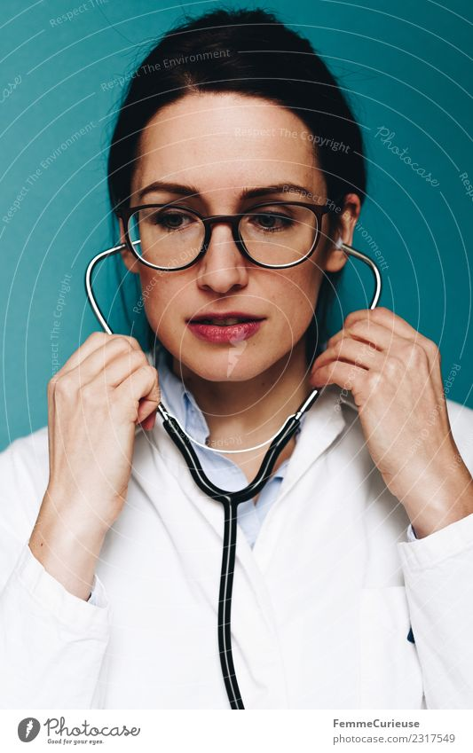 Female doctor with her stethoscope Work and employment Doctor Feminine Young woman Youth (Young adults) Woman Adults 1 Human being 18 - 30 years 30 - 45 years
