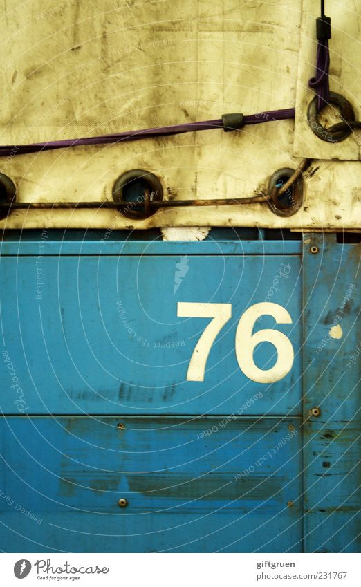 Old Blue Work and employment Dirty Transport Characters Digits and numbers Symbols and metaphors Logistics Plastic Past Truck Hollow Company Vehicle Workplace