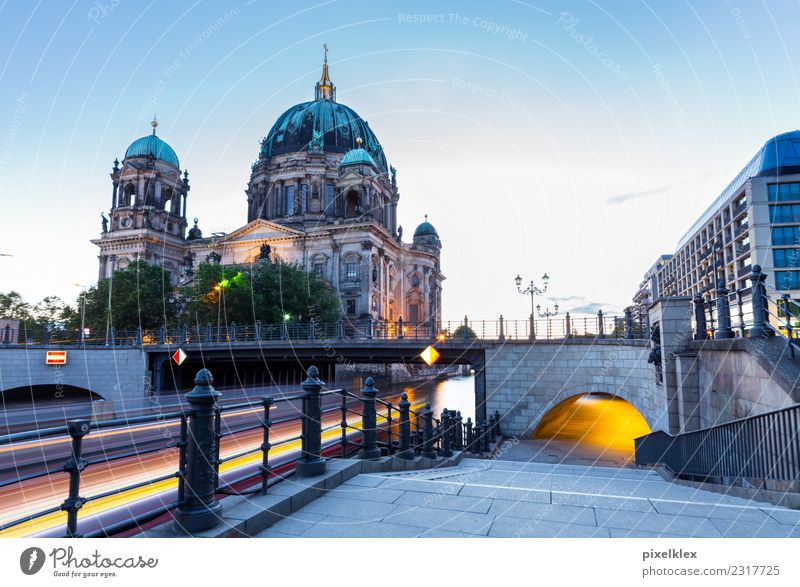 Berlin Cathedral in the blue hour Vacation & Travel Tourism Trip Sightseeing City trip Night life Germany Europe Town Capital city Downtown Old town Church Dome