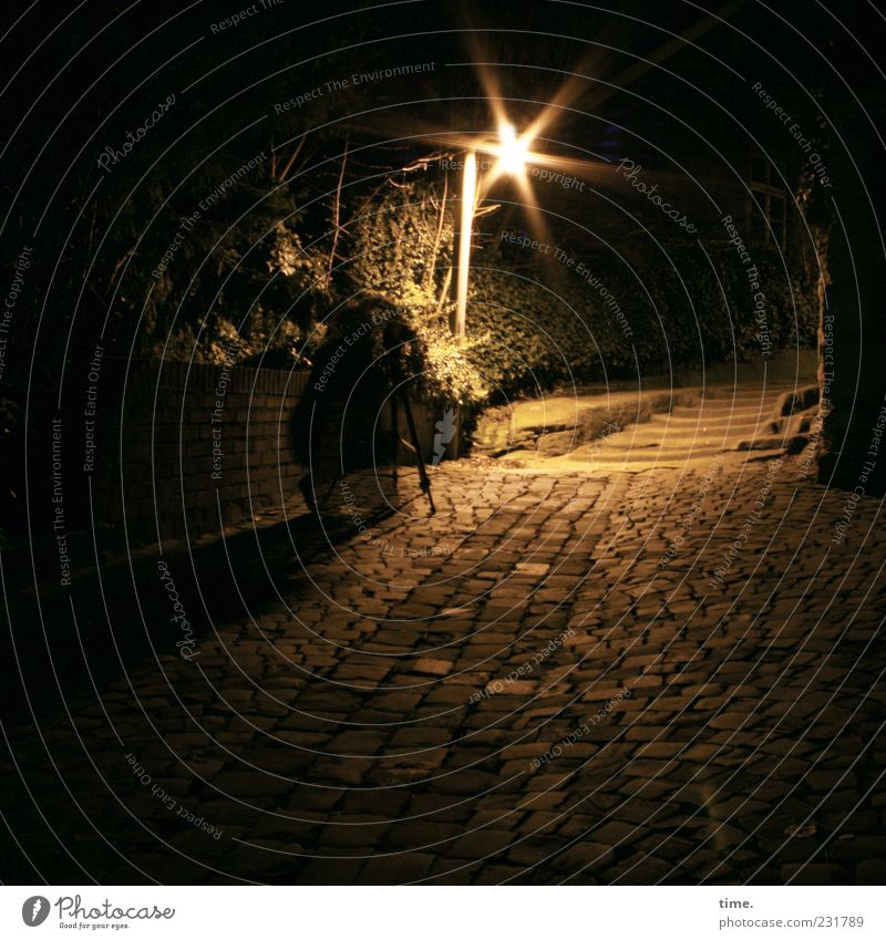 Human being Dark Wall (building) Wall (barrier) Lamp Moody Stairs Star (Symbol) Street lighting Cobblestones Paving stone Take a photo Sandstone Tripod Night