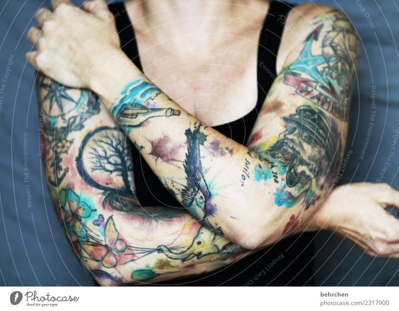 Woman Human being Beautiful Hand Adults Art Exceptional Body Power Skin Arm Fingers Cool (slang) Strong Tattoo Brave