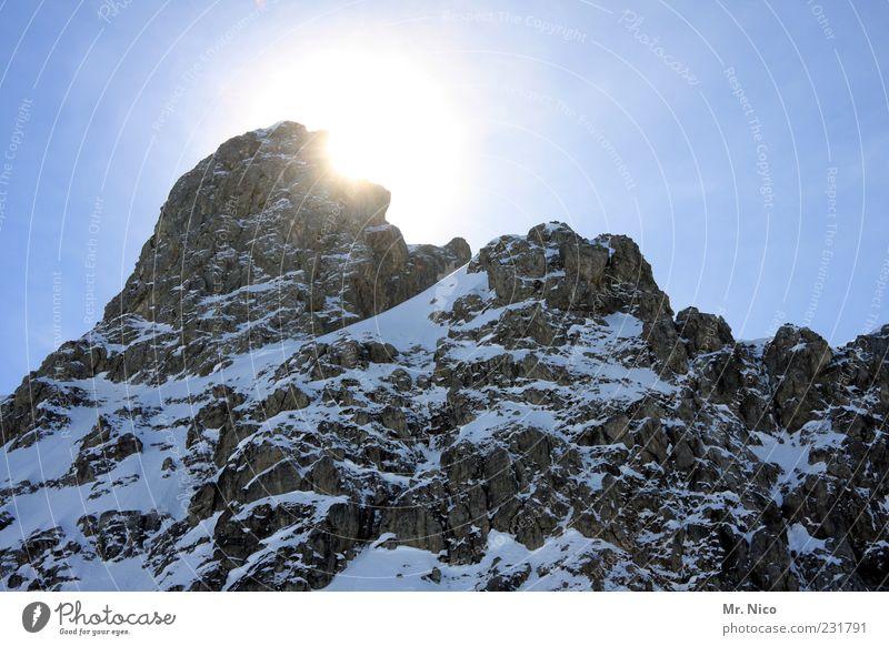 Nature Winter Loneliness Environment Landscape Mountain Freedom Power Rock Tourism Climate Alps Peak Beautiful weather Austria Blue sky
