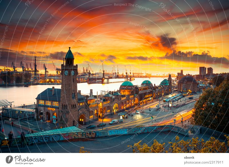 Sunset in Hamburg Town Port City Downtown Skyline Manmade structures Building Architecture Vacation & Travel cityscape Lower Saxony Colour photo Exterior shot