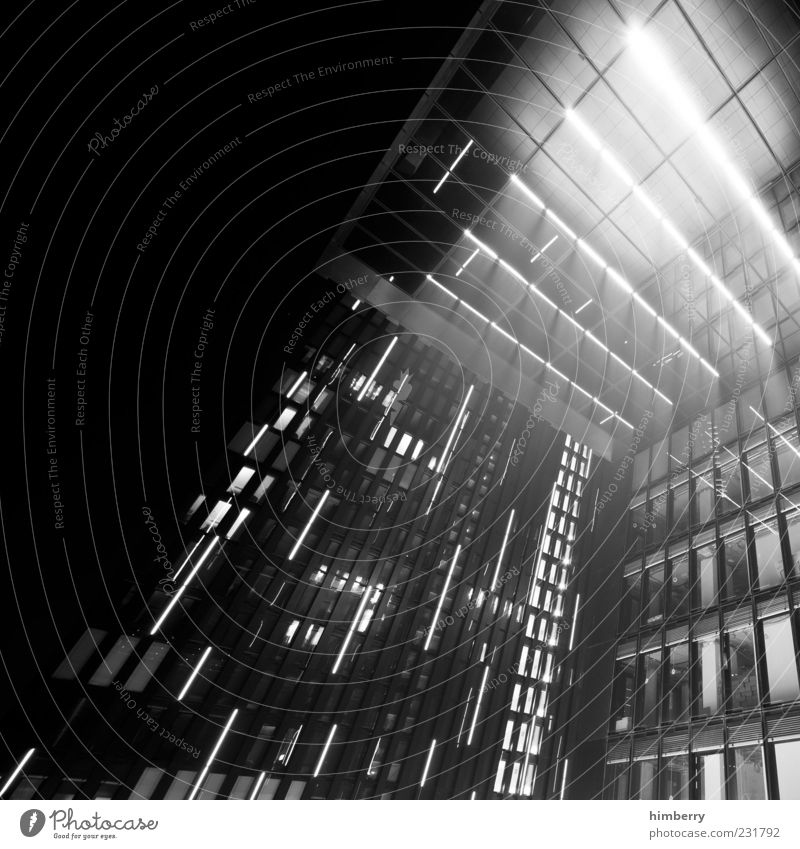 Window Architecture Building Lighting Facade Design Modern High-rise Gloomy Manmade structures Capital city Duesseldorf Black & white photo City
