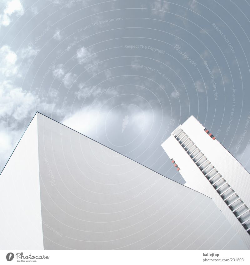 Sky White House (Residential Structure) Wall (building) Window Wall (barrier) Architecture Concrete High-rise Facade Modern Upward Geometry Symmetry Vertical