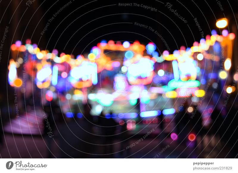 funny lights Joy Night life Event Fairs & Carnivals Sign Sphere Illuminate Glittering Movement Colour Multicoloured Exterior shot Experimental Light Contrast