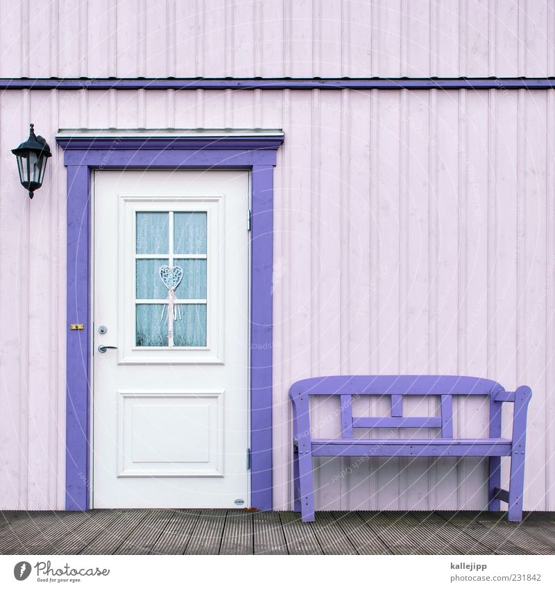 our house in the middle of our street Lifestyle House (Residential Structure) Dream house Detached house Hut Facade Window Door Bell Violet Bench Wooden house