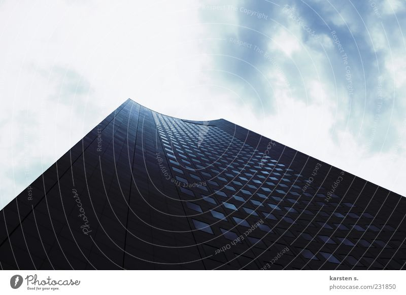 high up Sky Clouds Sun High-rise Architecture Tall Colour photo Exterior shot Day Light Shadow Contrast Sunlight Sunbeam Back-light Worm's-eye view Deserted