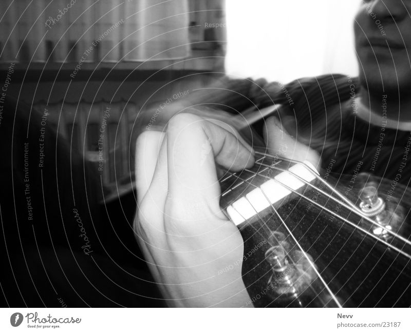 guitar play Playing Hand Musical instrument string Leisure and hobbies Guitar Playing Guitar Long Exposure Black & white photo bw