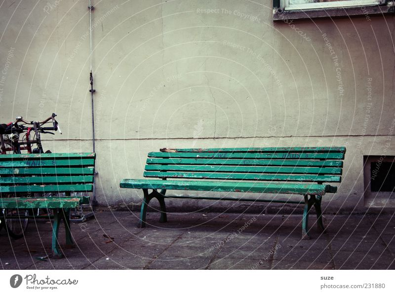 Old Green Loneliness Wall (building) Gray Facade Dirty Authentic Wait Places Gloomy Bench Dry Past Seating Weathered