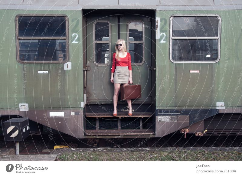 Woman Human being Youth (Young adults) Beautiful Vacation & Travel Adults Far-off places Life Style Fashion Blonde Wait Natural Trip Tourism Train window