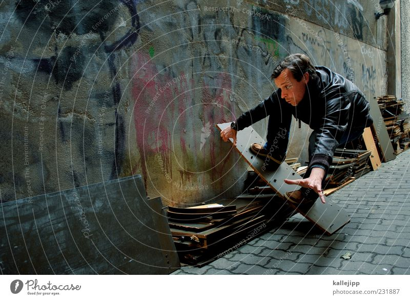 Human being Man House (Residential Structure) Adults Graffiti Movement Dream Facade Masculine Action Lifestyle Trash Skateboarding Idea Balance