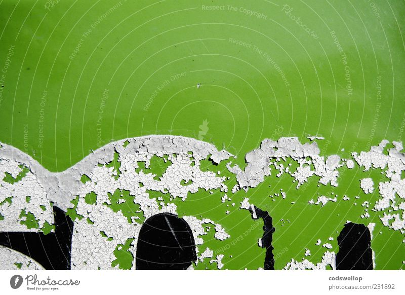 Old Green White Black Background picture Characters Change Retro Derelict Typography Decline Varnish Flake off