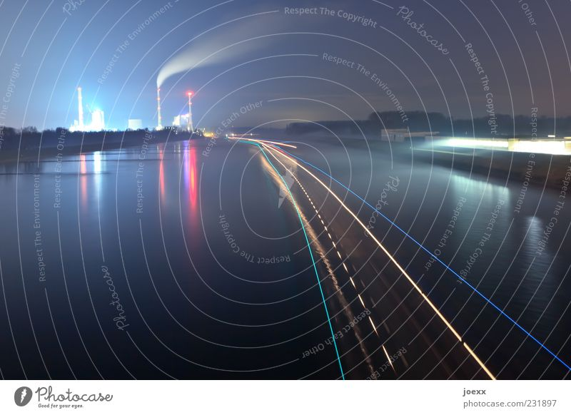 Water Far-off places Lighting Energy Industry Driving Factory Smoke Surface of water Night sky Industrial plant Strip of light Multicoloured Water reflection Waterway Inland navigation