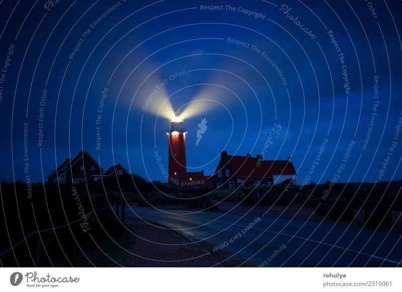 red lighthouse lightbeams in night, Holland Vacation & Travel Tourism Nature Landscape Sky Coast North Sea Village Town Lighthouse Architecture Street Dark Red