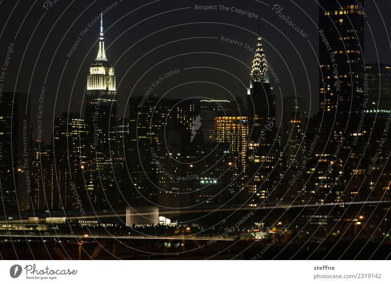 NYC16 New York City Skyline USA High-rise Town Manhattan Brooklyn Night Empire State building Chrysler Building