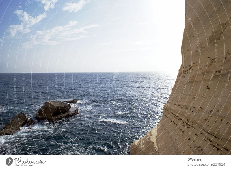 Rosh haNikra Vacation & Travel Far-off places Ocean Island Mountain Environment Nature Landscape Sky Summer Beautiful weather Rock Coast Stone Relaxation Israel