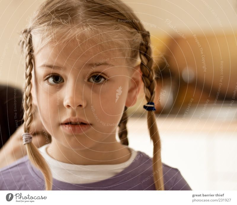 Human being Child Girl Eyes Head Hair and hairstyles Infancy Blonde Wait Curiosity Violet Facial expression Braids 3 - 8 years Plaited Face