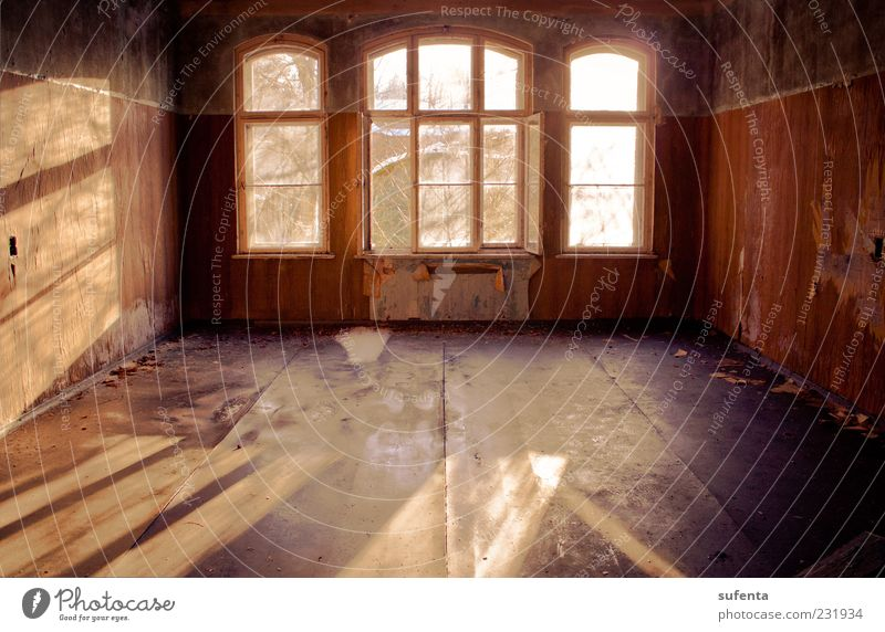 Play of light Ruin Window Broken Red Moody Spring fever Warm-heartedness Sunlight Shadow Warmth Soft Uninhabited Loneliness Colour photo Interior shot Deserted